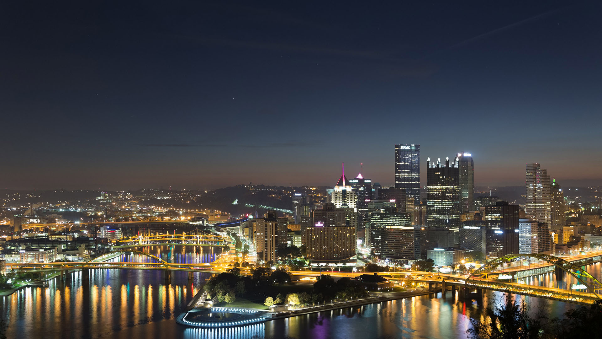 Pittsburgh city night skyline time lapse live wallpaper in 1080 HD retina photography