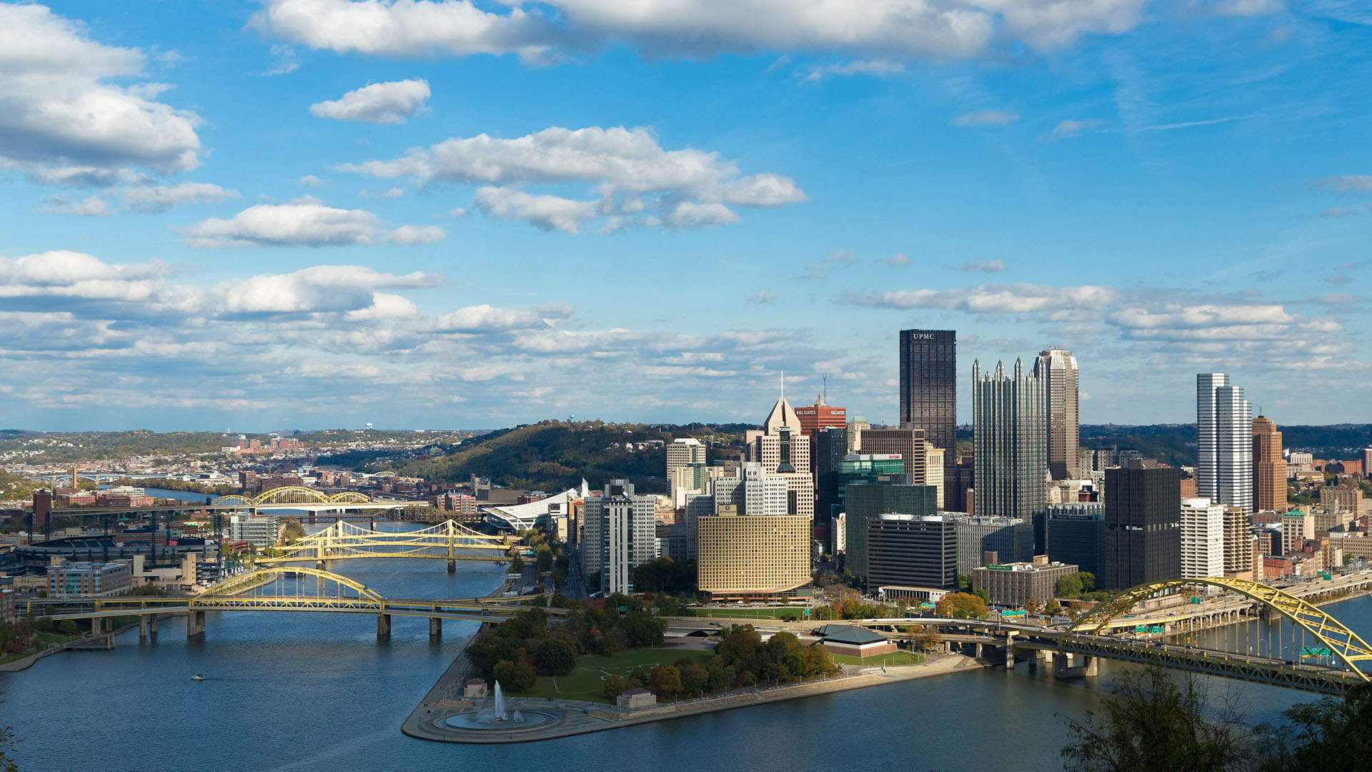 Pittsburgh urban wallpaper of a city skyline afternoon during the day